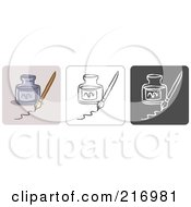 Royalty Free RF Clipart Illustration Of A Digital Collage Of Three Ink Icons In Color Sketch Style And Black And White by Qiun