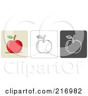 Royalty Free RF Clipart Illustration Of A Digital Collage Of Three Apple Icons In Color Sketch Style And Black And White by Qiun