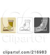 Digital Collage Of Three Boot Icons In Color Sketch Style And Black And White