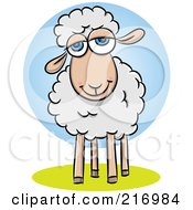 Royalty Free RF Clipart Illustration Of A Pleasant Little Sheep Smiling by Qiun #COLLC216984-0141
