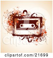 Musical Clipart Picture Illustration Of An 80s Cassette Tape With Brown And Orange Flourishes And Vines Over An Orange Background by OnFocusMedia