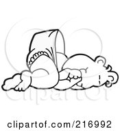 Royalty Free RF Clipart Illustration Of A Happy Outlined Baby In A Diaper Sucking His Thumb And Laying Down