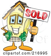 Home Mascot Character Holding A Sold Sign