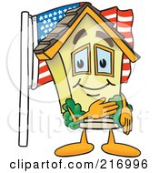 Royalty Free RF Clipart Illustration Of A Home Mascot Character With An American Flag by Toons4Biz