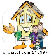 Royalty Free RF Clipart Illustration Of A Home Mascot Character With A Family by Toons4Biz