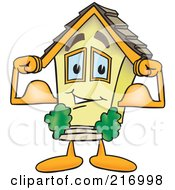 Royalty Free RF Clipart Illustration Of A Home Mascot Character Flexing