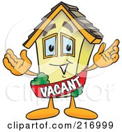 Royalty Free RF Clipart Illustration Of A Home Mascot Character Wearing A Vacant Sash