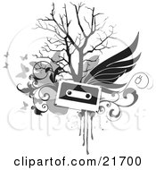 Musical Clipart Picture Illustration Of A Flying Cassette Tape With Wings Over A Bare Tree Gray Scroll And Butterfly Background On White