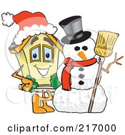 Royalty Free RF Clipart Illustration Of A Home Mascot Character By A Snowman by Toons4Biz