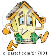 Royalty Free RF Clipart Illustration Of A Home Mascot Character Running by Toons4Biz