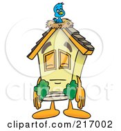 Home Mascot Character With A Bird Nest On The Roof