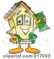 Royalty Free RF Clipart Illustration Of A Home Mascot Character Holding Cash by Toons4Biz