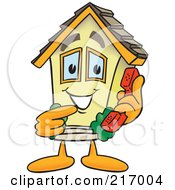 Royalty Free RF Clipart Illustration Of A Home Mascot Character Holding A Phone by Toons4Biz