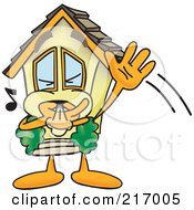 Royalty Free RF Clipart Illustration Of A Home Mascot Character Waving And Whistling by Toons4Biz