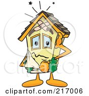 Royalty Free RF Clipart Illustration Of A Home Mascot Character With Damage by Toons4Biz