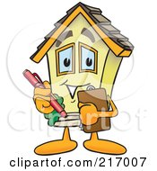 Royalty Free RF Clipart Illustration Of A Home Mascot Character Holding A Clipboard by Toons4Biz