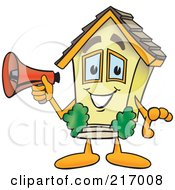 Royalty Free RF Clipart Illustration Of A Home Mascot Character Holding A Megaphone