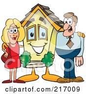 Royalty Free RF Clipart Illustration Of A Home Mascot Character With A Couple by Toons4Biz