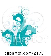 Nature Clipart Picture Illustration Of Faded Vines And Turquoise Waves Over A White Background