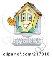 Royalty Free RF Clipart Illustration Of A Home Mascot Character In A Computer by Toons4Biz