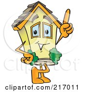Royalty Free RF Clipart Illustration Of A Home Mascot Character Pointing Upwards by Toons4Biz