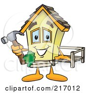 Royalty Free RF Clipart Illustration Of A Home Mascot Character Building A Deck by Toons4Biz