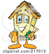 Royalty Free RF Clipart Illustration Of A Home Mascot Character Pointing Outwards by Toons4Biz