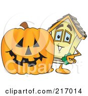 Royalty Free RF Clipart Illustration Of A Home Mascot Character By A Halloween Pumpkin by Toons4Biz
