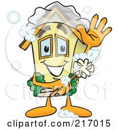 Royalty Free RF Clipart Illustration Of A Home Mascot Character Scrubbing Itself With A Brush by Toons4Biz