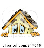 Royalty Free RF Clipart Illustration Of A Home Mascot Character Looking Over A Blank Sign by Toons4Biz