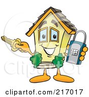 Royalty Free RF Clipart Illustration Of A Home Mascot Character Holding A Lock And Key by Toons4Biz
