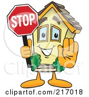 Royalty Free RF Clipart Illustration Of A Home Mascot Character Holding A Stop Sign by Toons4Biz