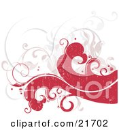 Nature Clipart Picture Illustration Of Red Waves And Faded Scrolling Vines Over A White Background by OnFocusMedia