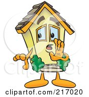 Royalty Free RF Clipart Illustration Of A Home Mascot Character Whispering by Toons4Biz