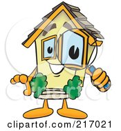 Royalty Free RF Clipart Illustration Of A Home Mascot Character Using A Magnifying Glass