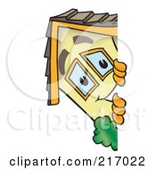 Royalty Free RF Clipart Illustration Of A Home Mascot Character Looking Around A Blank Sign by Toons4Biz