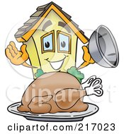 Royalty Free RF Clipart Illustration Of A Home Mascot Character Serving A Thanksgiving Turkey by Toons4Biz