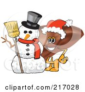 Royalty Free RF Clipart Illustration Of A Liver Mascot Character By A Snowman by Toons4Biz