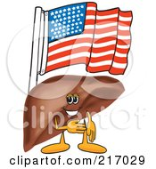 Royalty Free RF Clipart Illustration Of A Liver Mascot Character With An American Flag by Toons4Biz