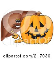 Royalty Free RF Clipart Illustration Of A Liver Mascot Character With A Halloween Pumpkin by Toons4Biz