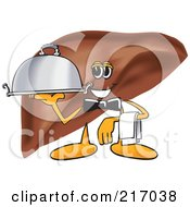 Royalty Free RF Clipart Illustration Of A Liver Mascot Character Serving A Platter by Toons4Biz
