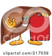 Royalty Free RF Clipart Illustration Of A Liver Mascot Character With A Red Price Tag by Toons4Biz