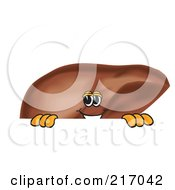 Royalty Free RF Clipart Illustration Of A Liver Mascot Character Looking Over A Blank Sign by Toons4Biz