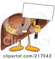 Royalty Free RF Clipart Illustration Of A Liver Mascot Character Holding A Small Blank Sign by Toons4Biz