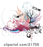 Musical Clipart Picture Illustration Of A Flying Winged Cassette Tapes With Pink Butterflies Over Colorful Vines And A Silhouetted Bare Tree On White by OnFocusMedia