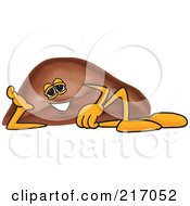 Royalty Free RF Clipart Illustration Of A Liver Mascot Character Reclined by Toons4Biz