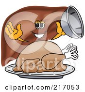 Liver Mascot Character Serving A Thanksgiving Turkey