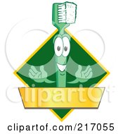 Green Toothbrush Logo Character Mascot With A Gold Banner On A Green Diamond