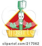 Green Toothbrush Logo Character Mascot With A Gold Banner On A Red Diamond