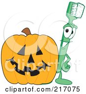 Royalty Free RF Clipart Illustration Of A Green Toothbrush Character Mascot With A Halloween Pumpkin by Toons4Biz